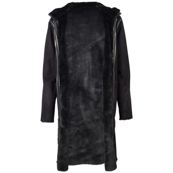 Women's Blonde No. 8 Mantel Fake Fur Kapuze schwarz