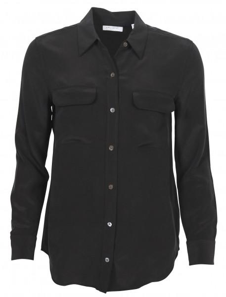 Women's Equipment Slim Signature Silk Shirt Black