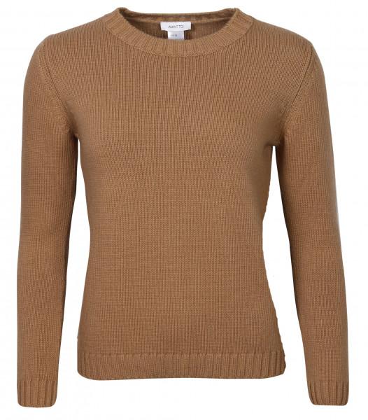 Women's Avant Toi Crewneck Knit Sweater Camel