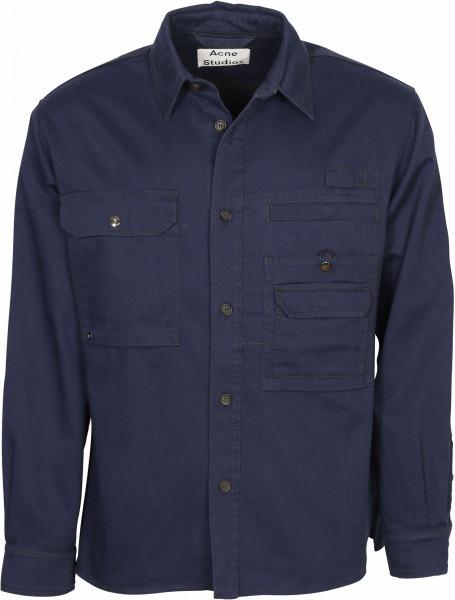 Men's Acne Studios Cotton Twill Overshirt Orallo Navy