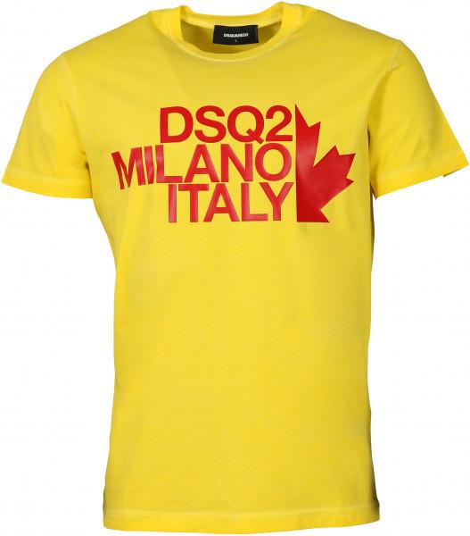 Men's Dsquared T-Shirt Yellow Printed