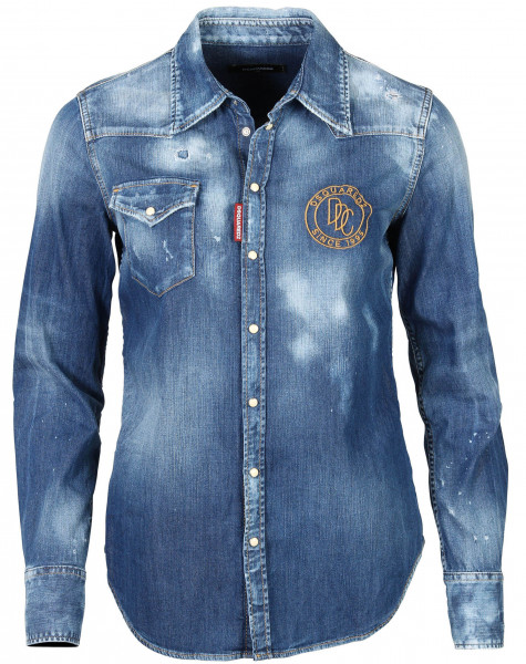 Women's Dsquared Denim Shirt Blue Washed