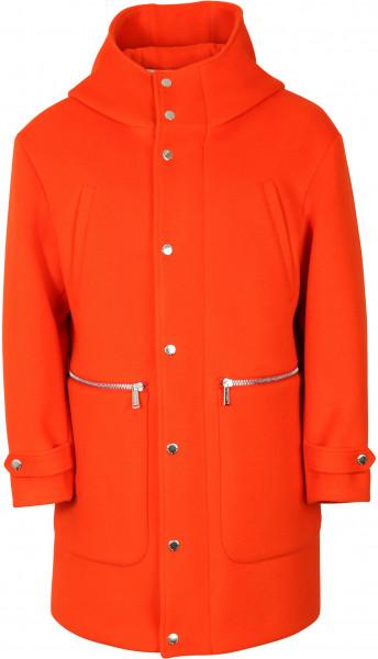Men's Dsquared Hooded Wool Coat Orange