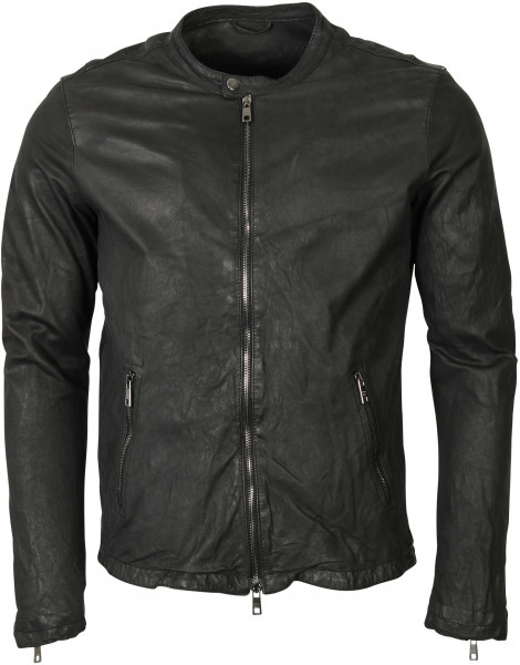 Men's Giorgio Brato Leather Jacket Washed Black