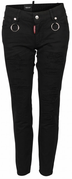 Women's D2 Dsquared Jeans Runway Straight Cropped black