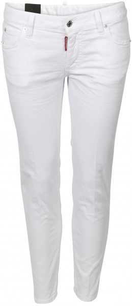 Women's D2 Dsquared Jeans Medium Waist Cropped Twiggy white