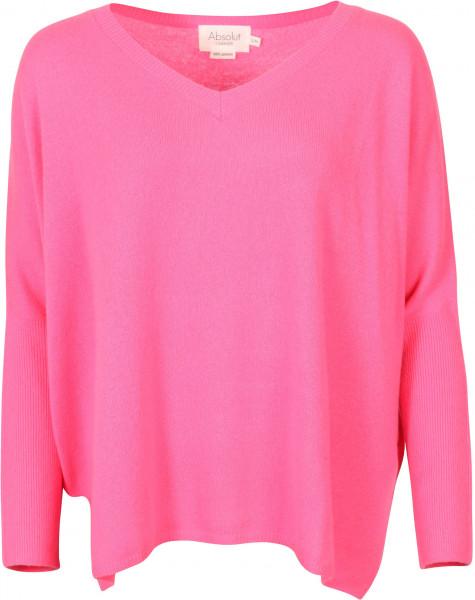 Women's Absolut Cashmere V-Neck Pullover Fluo Pink
