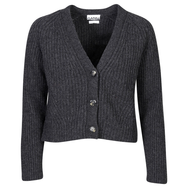 Women's Ganni Recycled Wool Cardigan Dark Grey Melange