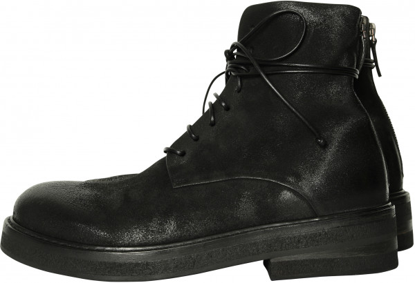 Men's Marsèll Combat Boots Vintage Black Deer Leather