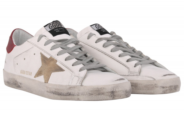 Men's Golden Goose Superstar White/Beige/Red