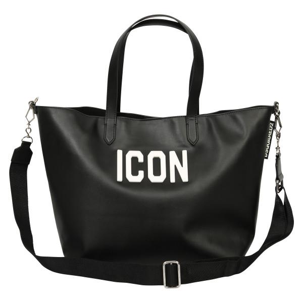 Women's Dsquared Leather Icon Shoppingbag Black/White