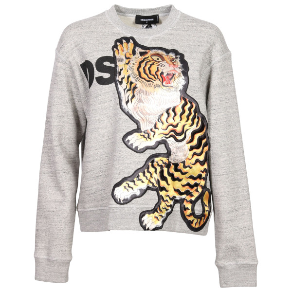 Women's Dsquared Sweatshirt Heathergrey Lion Patch