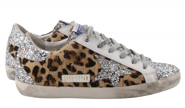 Women's Golden Goose Superstar Leopard Horsy Glitter Star and Heel