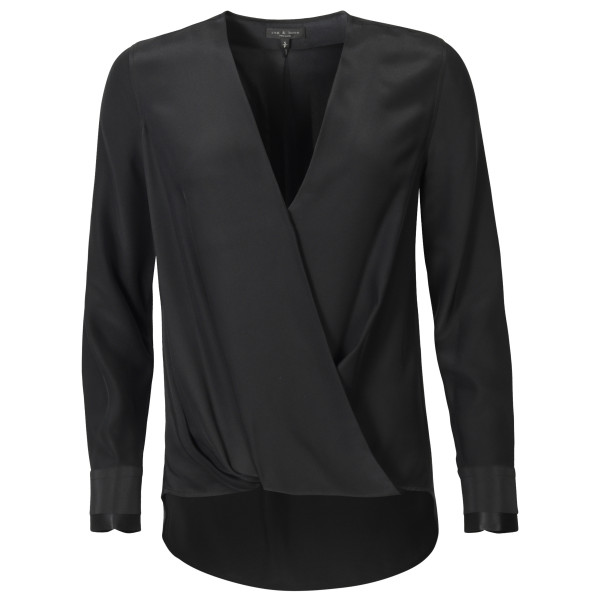Women's Rag & Bone Silk Blouse Victor Black