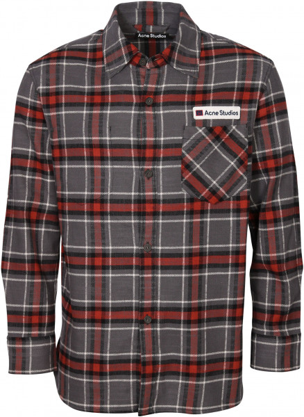 Men's Acne Studios Check Overshirt Salak Flannel Face Grey/Red