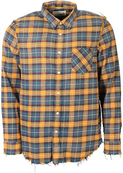 Men's R13 Shredded Check Shirt Blue/Yellow