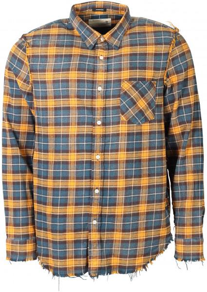 Men's R13 Shredded Check Shirt Blue/Yellow