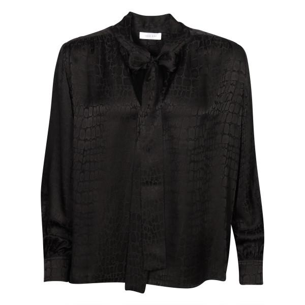 Women's Anine Bing Silk Blouse Black Patterned