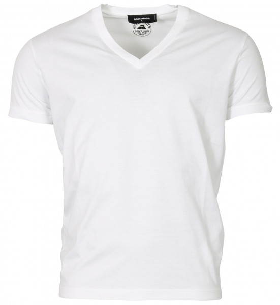 MEN'S D2 DSQUARED T-SHIRT V NECK WHITE