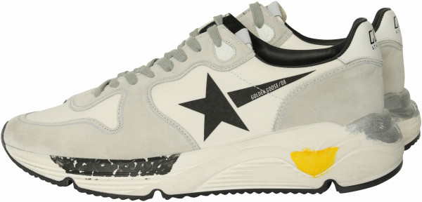 Men's Golden Goose Running White Lycra/Black Star