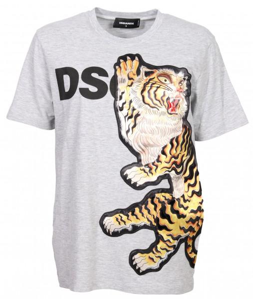 Women's Dsquared T-Shirt Heathergrey Lion Patch
