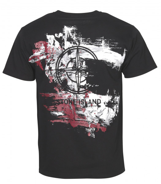 Men's Stone Island T-Shirt Back Printed Black