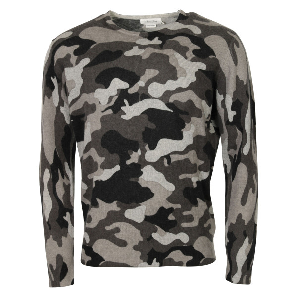 Men's Absolut Cashmere Roundneck Pullover Camo Grey