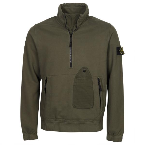 Men's Stone Island Zip And Frontbag Sweatshirt Olive