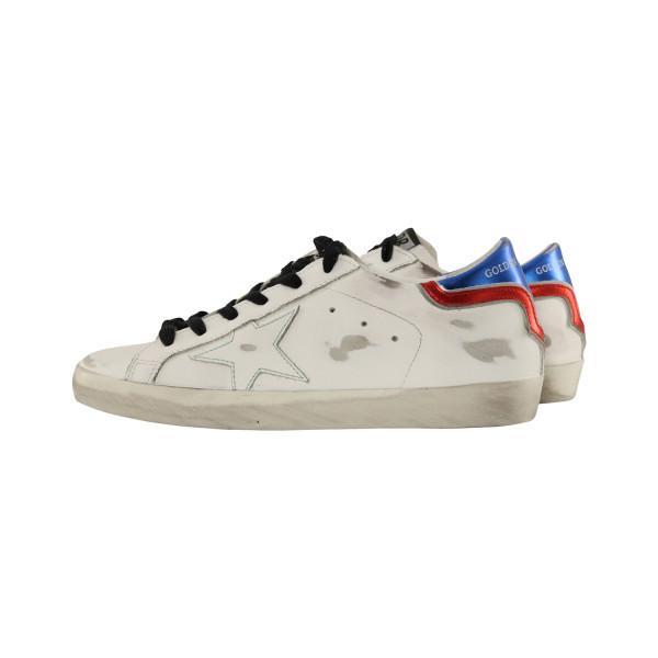 Women's Golden Goose Sneaker Superstar White/Blue/Red