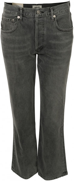 Women's Agolde Jeans Ripley Mid Rise Straight Black Washed