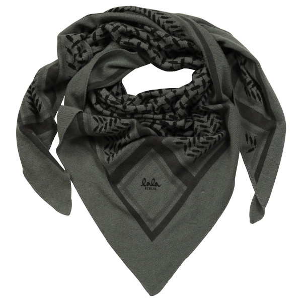 Lala Berlin Cashmere Scarf Medium Triangle Kufiya Olive