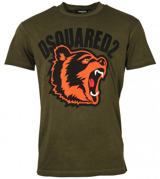 Men's Dsquared T-Shirt Olive Printed