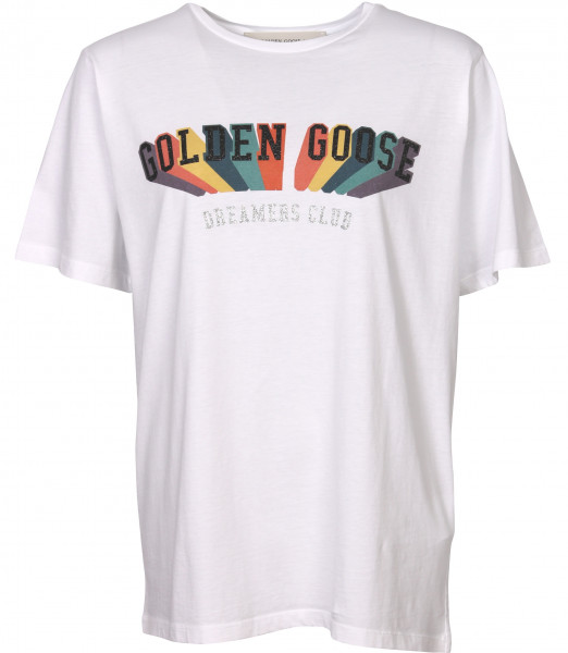 Women's Golden Goose T-Shirt Aira Boyfriend Golden Rainbow