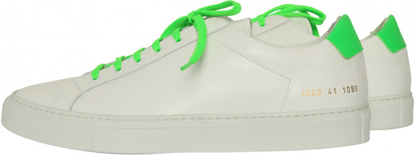 Men's Common Project Sneaker Retro Low Fluo White/Green