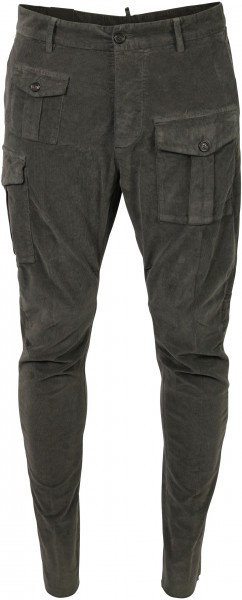 Men's Dsquared Cord Pant Sexy Cargo Fit Grey