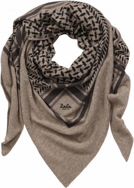 Lala Berlin Cashmere Scarf Large Triangle Taupe Melange