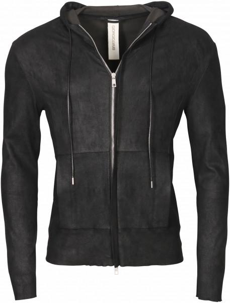 Men's Giorgio Brato Hooded Leather Jacket Black