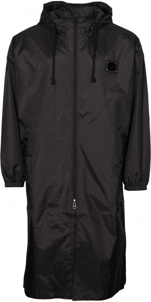Men's Acne Studios Hooded Nylon Coat Ormes Plaque Face Black
