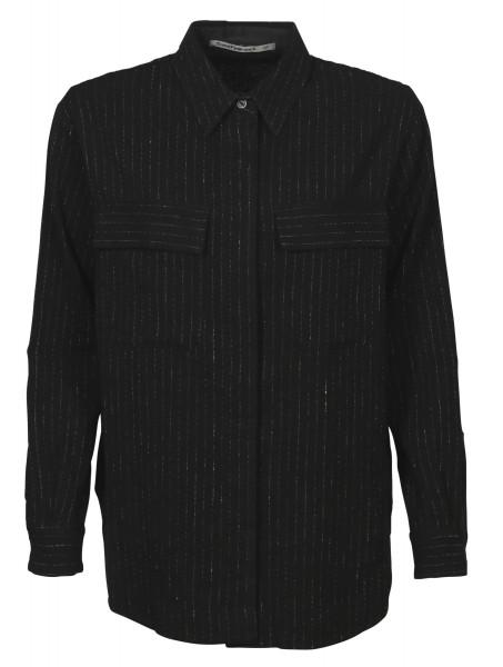 Women's Transit Par Such Wool Linen Jacket Black Stripes