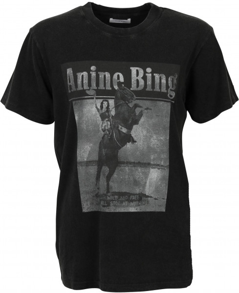 Women's Anine Bing Lili Tee Wild and Free Washed Black