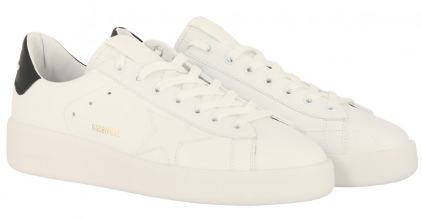 Men's Golden Goose Sneaker Pure Star White Leather Black Heel