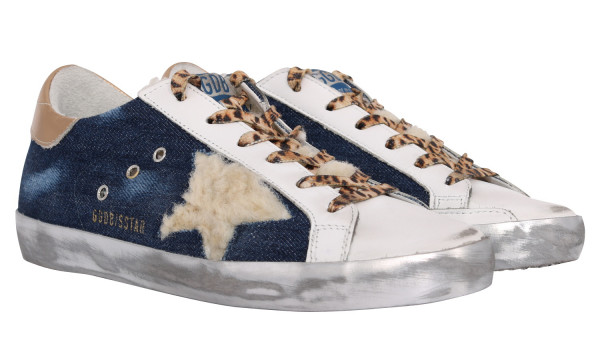 Women's Golden Goose Sneaker Superstar Denim/Shearling Star