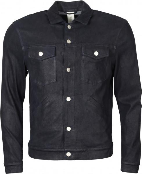 Men's Giorgio Brato Leather Jacket Night Blue