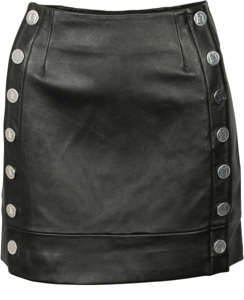 Women's Nikkie Leather Skirt Black/Silver Studs