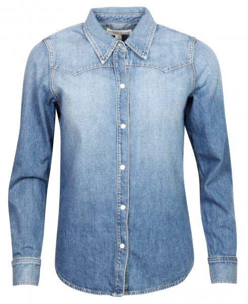 Women's Nili Lotan Denim Shirt Claire Blue Washed