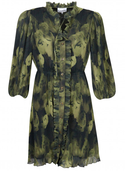 Women's Ganni Recycled Pleated Georgette Mini Dress Olive Print