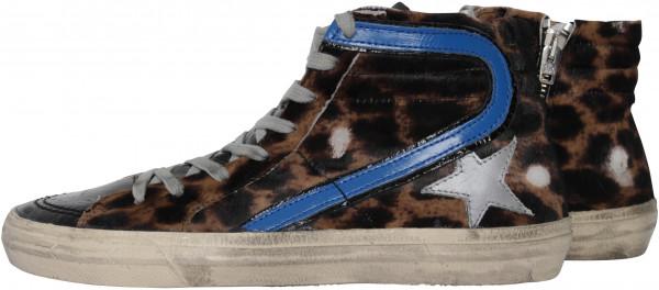 Women's Golden Goose Sneakers Slide Leopard Bluette