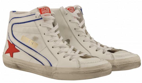Men's Golden Goose Sneaker Slide White Leather Cherry Star