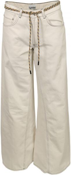 Women's Ganni Wide Pants Washed Denim White
