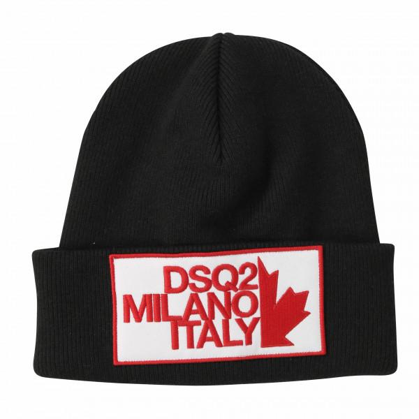 Men's Dsquared Knit Hat Patched Black